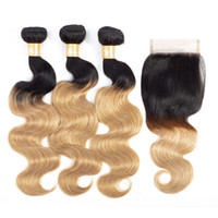Brazilian Human Hair Weave 3 Bundles with Lace Closure 1B 27...