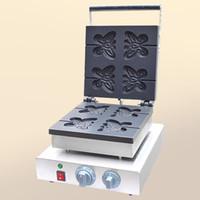 Qihang_top aperatif makineleri kelebek şekli lolly waffle makinesi paslanmaz çelik kelebek waffle makinesi ile dört adet kalıpları