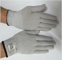 Nuovo 2Pair Elettrico Guanti per elettrodi massaggianti conduttivi per terapia TENS EMS Massager per le mani SPA beauty con Patch