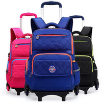 3 Colors School Backpack For Girls and Boy With Wheel Trolle...