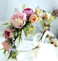 guirnalda de flores de novia boutique de simulación estéreo chicas de oro rosa princesa niños flores de la corona de la cinta hairbands Arcos vacaciones en la playa YA0179