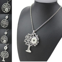 5 stili Noosa Life Tree Snap Button Pendant Necklace Fit 18mm pulsanti Charm Tree Of Life ciondolo a scatto gioielli intercambiabili con cha