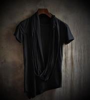 Neue Sommer Persönlichkeit nicht Mainstream Herrenbekleidung männlich schlank schwarz unregelmäßigen Fransen Rundhals Kurzarm T-Shirts S-3XL