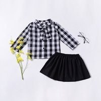 Best selling girls suit baby plaid bow tie cardigan shirt so...