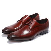 FELIX CHU Elegante Genuíno Dos Homens de Couro de Vaca Derby Sapatos Formais Lace Up Borgonha Homem Vestido de Festa de Casamento Escritório Sapatos # 2013-305