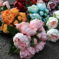 عالية الجودة الحرير الاصطناعي زهرة بو النمط الأوروبي محاكاة الفاوانيا الزهور باقة الملونة الكلاسيكية ديكور المنزل 27 9sb ww