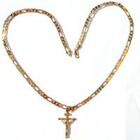 """24k твердого желтого золота GF 6 мм итальянский Фигаро звено цепи ожерелье 24 """" женские мужские Иисус распятие крест кулон"""