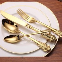 4pcs Luxury Golden Dinnerware Set Gold Plated Stainless Stee...
