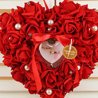 wedding ring box Wedding decorations Heart- shape Flowers Val...