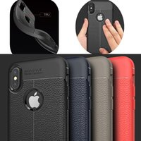 Litchi Stria Leather Lines TPU Soft Case for iPhone XR XS Ma...