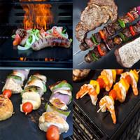 BBQ Grillmatte 5 teile / los Wiederverwendbare Antihaft BBQ Grill Matte 40 * 33 cm Blatt Tragbare Einfach Sauber OutDoor Kochwerkzeug BBQ Liner 100 teile