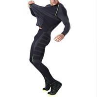 남자 드라이 맞는 압축 Tracksuit 휘발성 꽉 실행 설정 T- 셔츠 Legging 남자 스포츠웨어 Demix 블랙 체육관 스포츠 정장