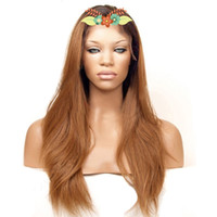 Hot Selling Long Straight Dark Roots Ombre Brown Synthetic L...