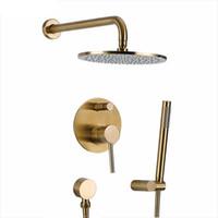 Escovado Solid Gold Latão Banheiro Shower Set Rianfall Chuveiro Faucet fixado na parede Duche Arm Mixer Água Set