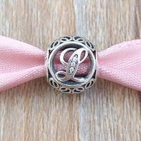 K TO T harfleri 925 Ayar Gümüş Boncuk Vintage Charm Avrupa Pandora tarzı Takı Bilezikler Kolye 791864CZ Uyar