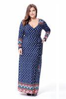 étnico Vintage imprimir vestido de mujer Cardigan vendaje túnicas musulmanas más el tamaño de las mujeres Maxi vestido de fiesta largo 6XL vestidos de gran tamaño Nuevo