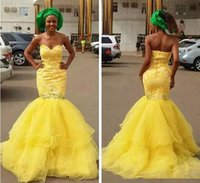 2018 Africa New Lace Yellow Prom Dresses Sweetheart Beads So...