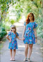 Mother And Daughter Blue Flower Dresses Baby Girls Floral Dr...