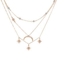 Производители продают многослойное ожерелье с бриллиантовой кисточкой new star moon непосредственно в Европе и Америке