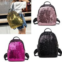 50pcs Bling Sequin Backpack Bag Women PU Large Capacity Trav...