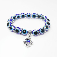 Gros Lucky Fatima Hamsa Main Bleu Oeil Mal Charmes Bracelets Bracelets Perles Turc Pulseras Pour Les Femmes 2018 Nouveaux Bijoux KKA2009