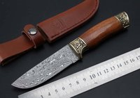 Couteau de chasse à lame de couteau de damas de cuisine fixe camp de chasse de chasse poche outils de survie EDC en plein air couteau de légitime défense