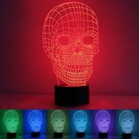 3D Schädel Illusion LED Tisch Schreibtisch Licht USB 7 Farbwechsel Nacht Lampe Home # R54