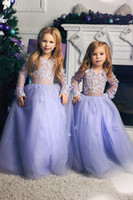 Lavender Lace Applique Flower Girl Dresses Sexy Long Sleeves...