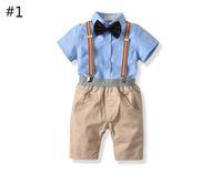 Menino T-Shirt de Manga Curta e Calças Curtas com Cintas Set Quatro Peças Baby Primavera e Outono Tops + Bowknot + Suspensórios Terno Roupa Infantil