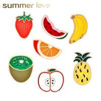 Sıcak satış kadınlar için karpuz çilek apple yaratıcı tasarım broşlar çocuklar kivi altın renk karikatür meyve moda yaka broş pin