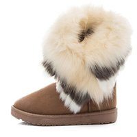 Winter women' s ankle boots winter womens fox fur wedges...