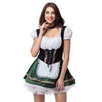 Weiß Grün Oktoberfest Deutsch Maid Kostüm Cosplay Bier Mädchen Kostüm Sexy Halloween Kostüme Für Frauen Deguisement Adultes
