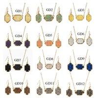 Drusy Colar druzy Gota Stud Brincos Conjunto de jóias de ouro prata banhado Glitter druzy Choker por Mulheres