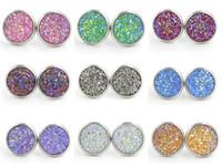 12mm in resina cristalli druzy gioiello in argento colore orecchini nuovi gioielli in acciaio inox per le donne ragazza brithday