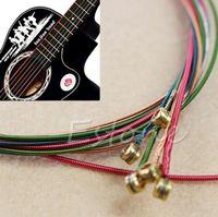 6pcs arcobaleno colorato stringhe di colore per chitarra acustica strumento ukulele spedizione gratuita