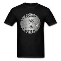 0682a4a4fee Free As A Bird T Shirt Custom Men T-shirt Punk Black Tshirts Short Sleeve Tops  Cotton Tees Retro Letter Hummingbird Clothes