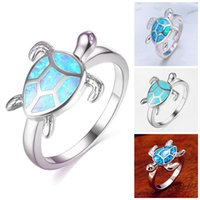 Turtle Blue Fire Opal Animal Rings For Women Wedding Band Fa...