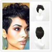 Venta de explosión Peluca de alta calidad Peluca de pelo corto sintética Cabello rizado Pelucas negras afroamericanas para mujeres negras