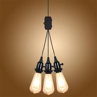 Moderno eua ue reino unido au plugue 3 cabeça e27 interruptor de luz pingente de botão simples lâmpadas pingente para loja de roupas loja de café sala de estudo