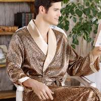 2018 nueva primavera otoño de lujo albornoz para hombre de impresión más el tamaño de seda satén pijamas kimono verano camisón masculino de seda chino bata c18110901