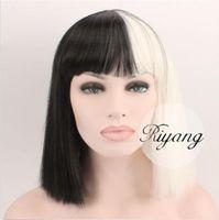 3-5 días barco blanco y negro peluca de Bob Full Bangs Sia pelo Yaki cosplay sintético