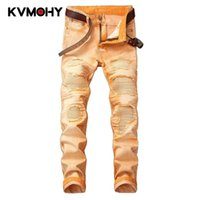 Hip Hop Jeans Männer Camouflage Orange Jeans Hosen Männliche Camo Coole Mode Schlanke Armee Denim Hosen Zerrissene Pantalon Homme Jean