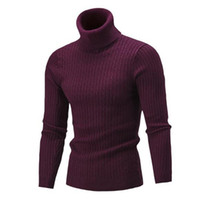 2018 new men's sweater knitted sweater autumn and winter new European and American high collar pure color knitted