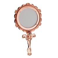Mini estilo antiguo vintage Handheld cosmético plegable maquillaje espejo oro rosa redondo