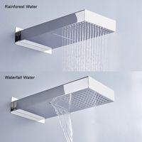 BECOLA 두 가지 방법 폭포 레인 샤워 헤드 벽 마운트 스테인레스 스틸 샤워 꼭지 BR-9909