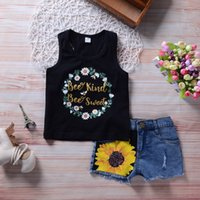 Summer Kids Baby Girl Clothing Flower Vest Jeans Shorts 2Pcs...