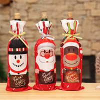 Wine Bottle Cover Bags Merry Christmas Decorations Santa Cla...