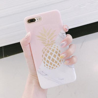 Золотые ананасные чехлы на ананасе Геометрические Сращины Камень Мраморная Текстура Дизайн Дизайн Чехол для iPhone 12 Mini 11 Pro XS MAX XR 7 8 PLUS X Обложка