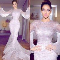2019 Yeni Arapça Mermaid Örgün Elbiseler Akşam Giyim Uzun Kollu Tam Dantel İnciler Balo Abiye Artı Boyutu Gelinlik Modelleri Uzun