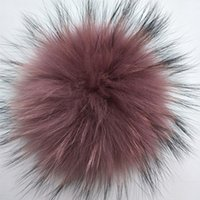 14- 15cm natural color &Colorful Raccoon Fur pompoms balls fo...